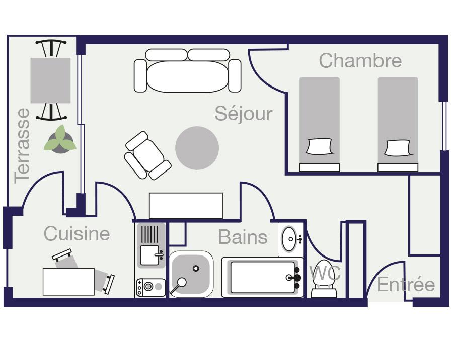 Plan Appartement 36,5m2 des demeures de Borda 2