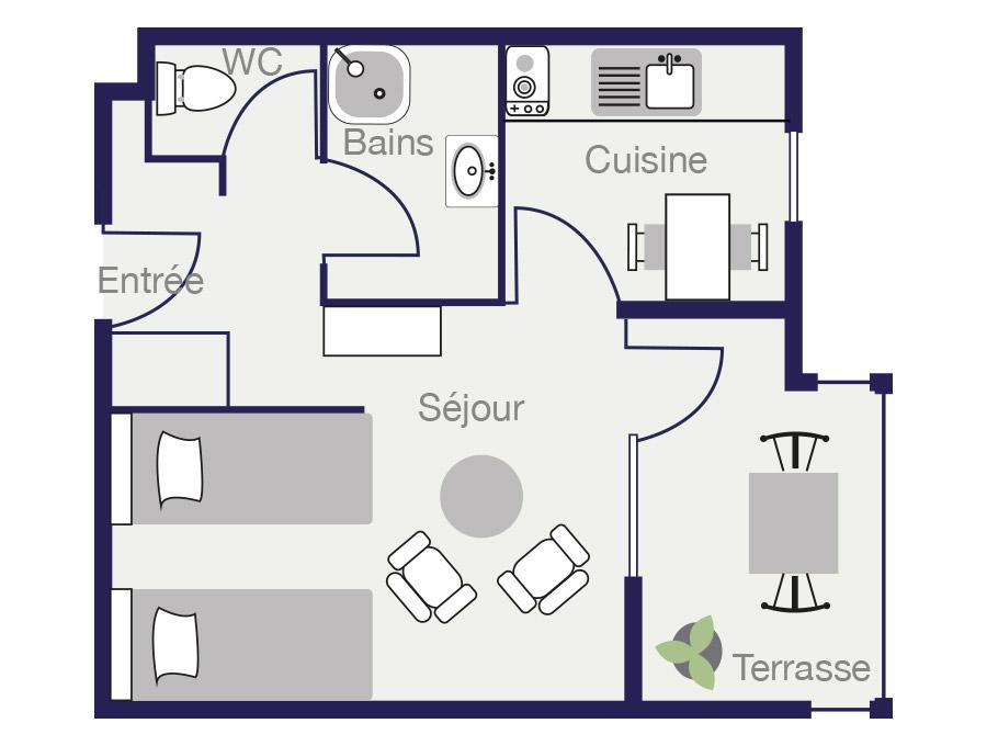Plan Appartement 24 m2 des Demeures de Borda 1