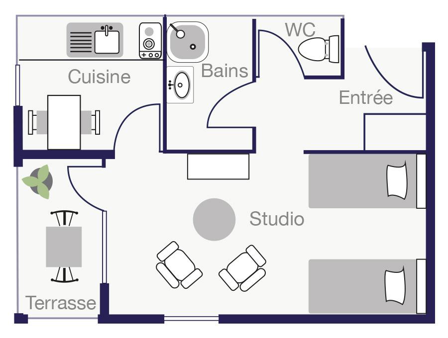 Plan Appartement 26 m2 des Demeures de Borda 1
