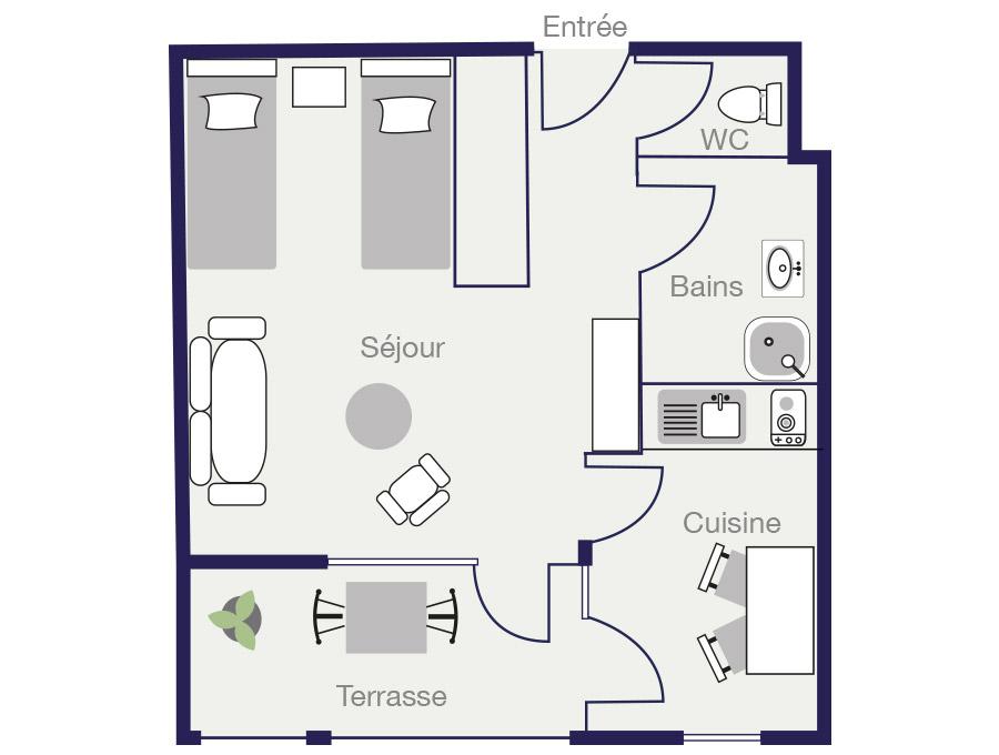 Plan Appartement 29 m2 des Demeures de Borda 1