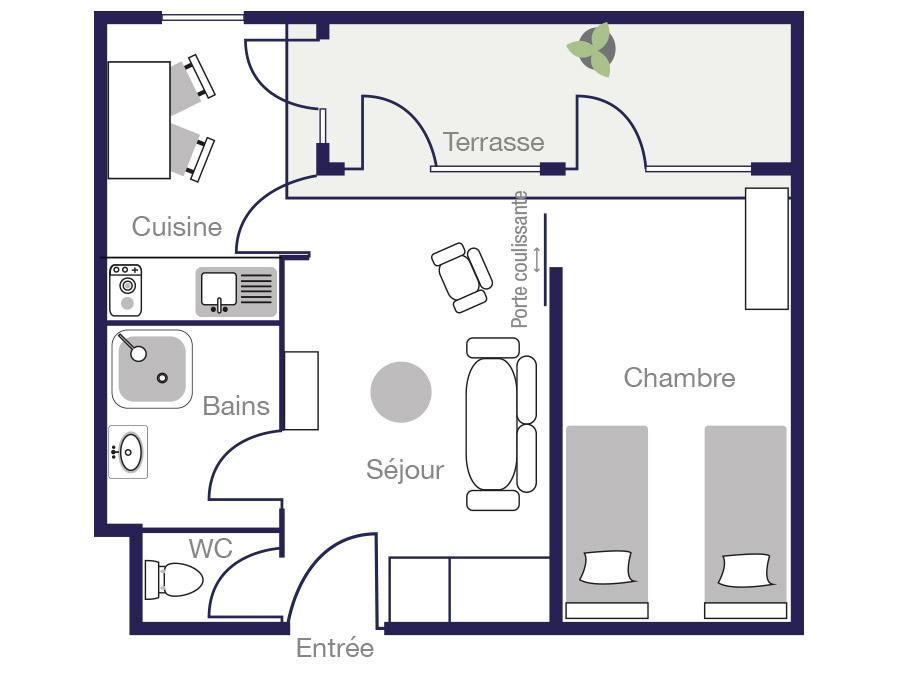 Plan Appartement 35 m2 des Demeures de Borda 1