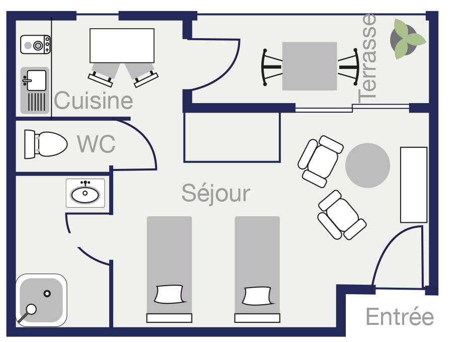 Plan Appartement 28,5m2 des demeures de Borda 2